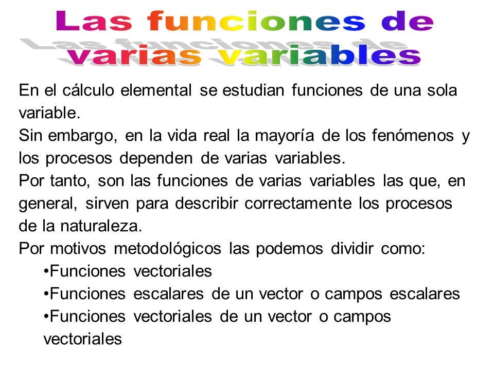 En el cálculo elemental se estudian funciones de una sola variable. Sin embargo, en la vida real la mayoría de los fenómenos y los procesos dependen d