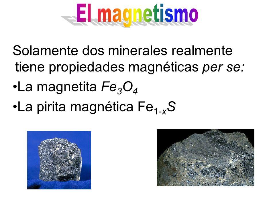 Solamente dos minerales realmente tiene propiedades magnéticas per se: La magnetita Fe 3 O 4 La pirita magnética Fe 1-x S