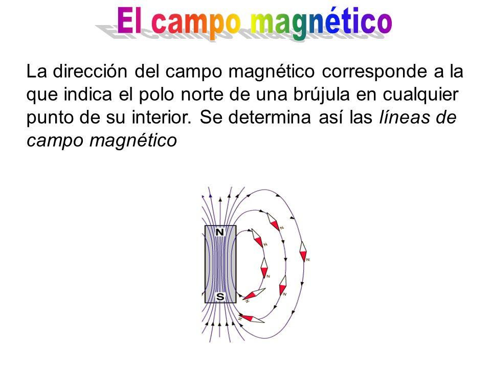La dirección del campo magnético corresponde a la que indica el polo norte de una brújula en cualquier punto de su interior. Se determina así las líne