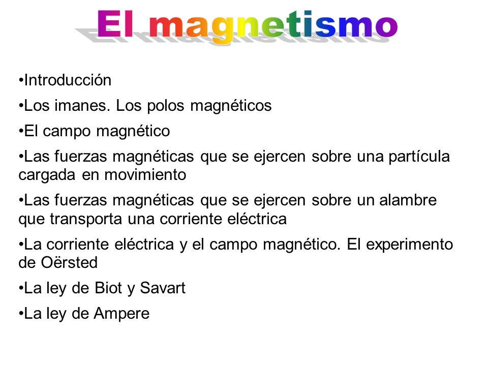 Introducción Los imanes. Los polos magnéticos El campo magnético Las fuerzas magnéticas que se ejercen sobre una partícula cargada en movimiento Las f