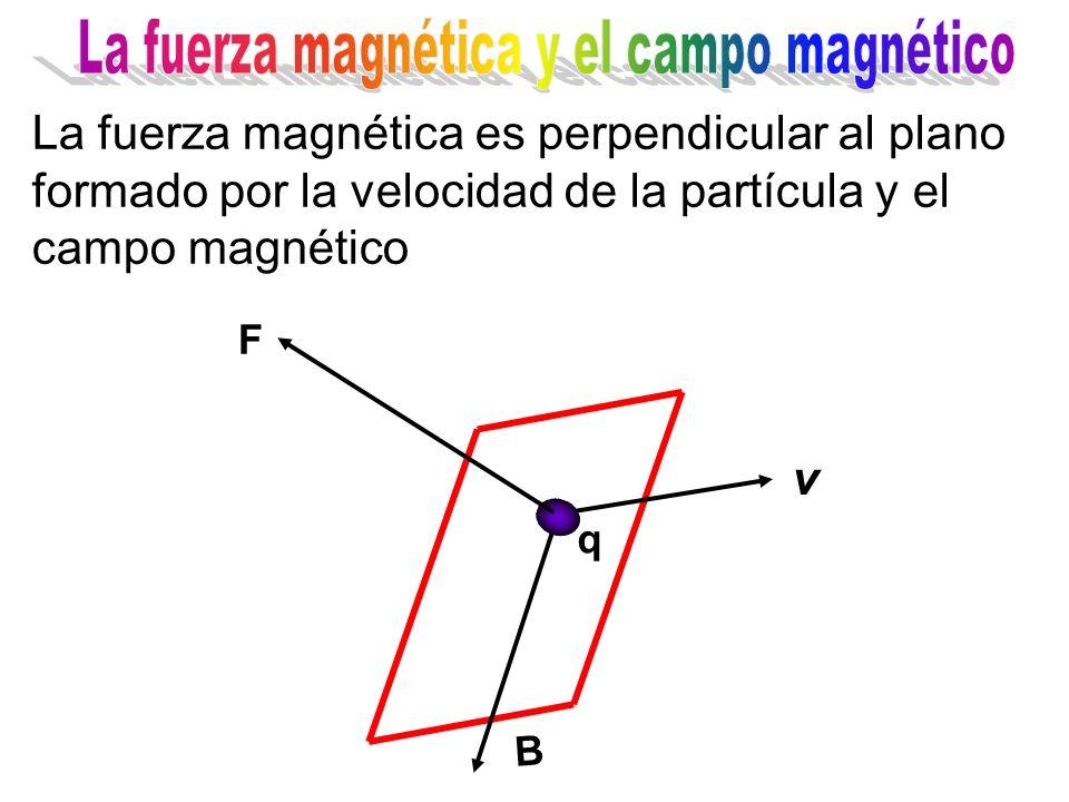 La fuerza magnética es perpendicular al plano formado por la velocidad de la partícula y el campo magnético B v F q
