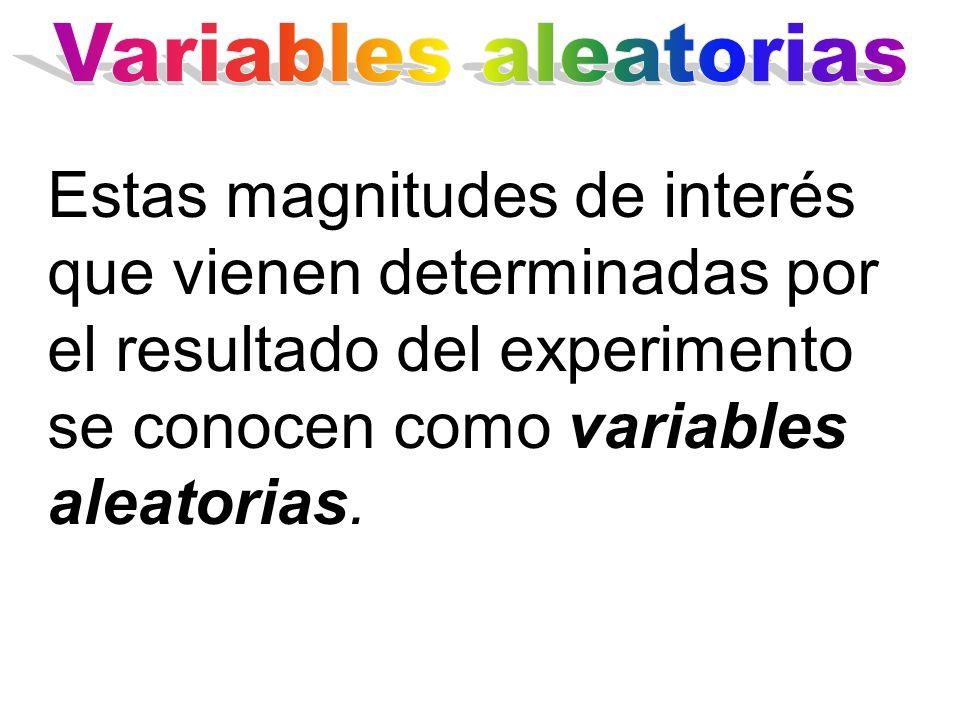 Estas magnitudes de interés que vienen determinadas por el resultado del experimento se conocen como variables aleatorias.