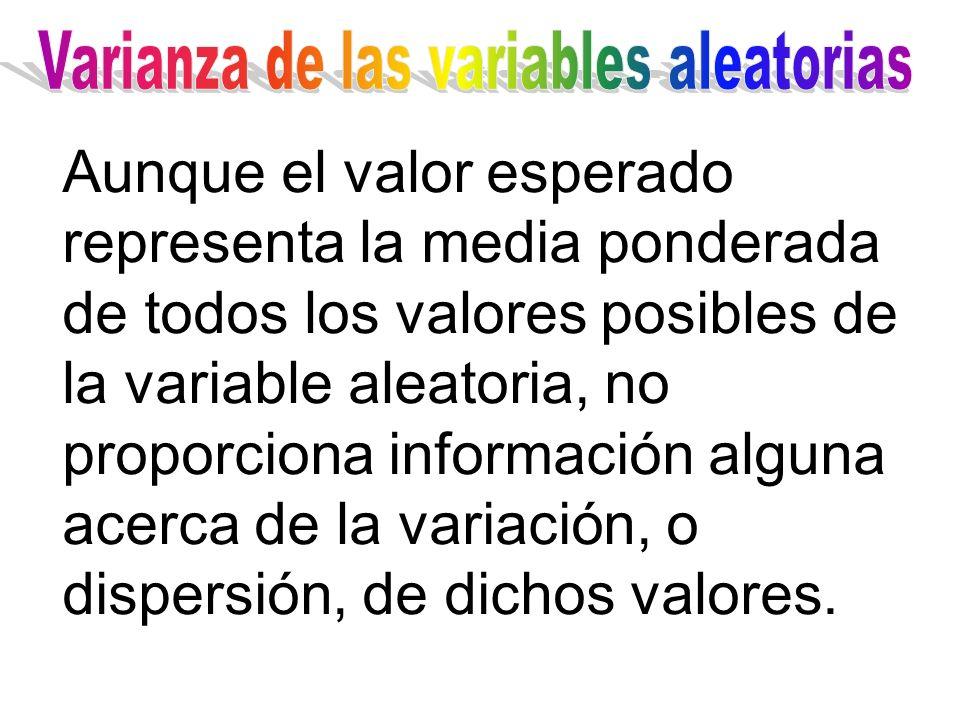 Aunque el valor esperado representa la media ponderada de todos los valores posibles de la variable aleatoria, no proporciona información alguna acerc