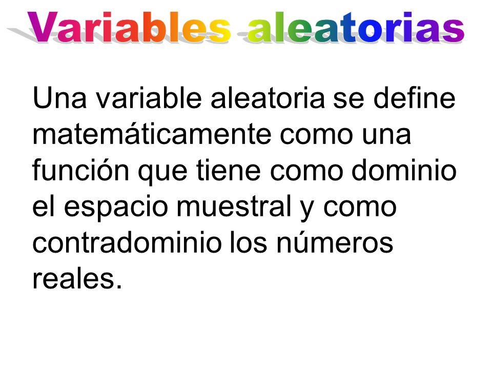 Una variable aleatoria se define matemáticamente como una función que tiene como dominio el espacio muestral y como contradominio los números reales.