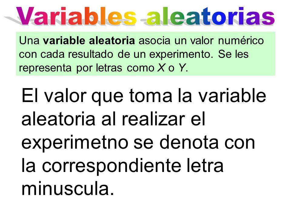 El valor que toma la variable aleatoria al realizar el experimetno se denota con la correspondiente letra minuscula. Una variable aleatoria asocia un