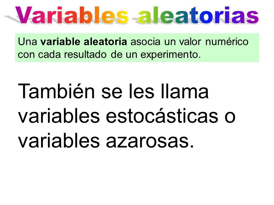 También se les llama variables estocásticas o variables azarosas. Una variable aleatoria asocia un valor numérico con cada resultado de un experimento