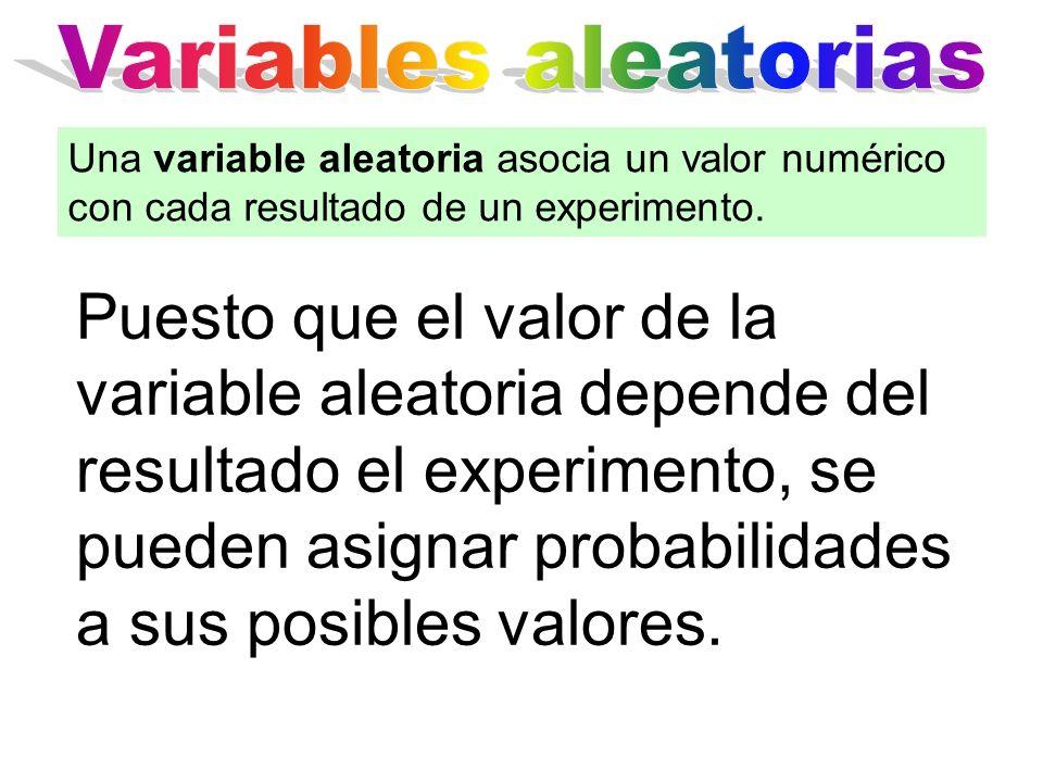 Puesto que el valor de la variable aleatoria depende del resultado el experimento, se pueden asignar probabilidades a sus posibles valores. Una variab