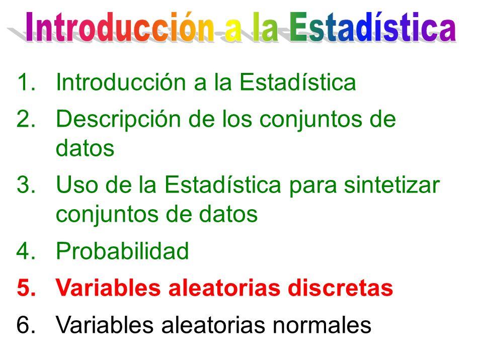 1.Introducción a la Estadística 2.Descripción de los conjuntos de datos 3.Uso de la Estadística para sintetizar conjuntos de datos 4.Probabilidad 5.Va