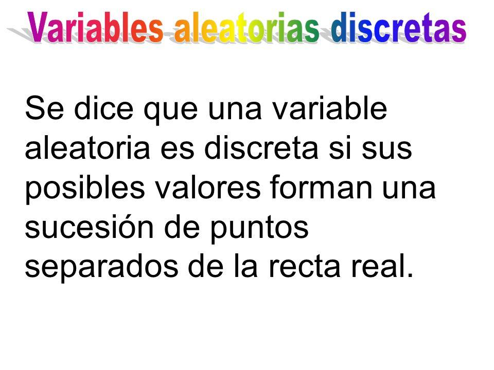 Se dice que una variable aleatoria es discreta si sus posibles valores forman una sucesión de puntos separados de la recta real.