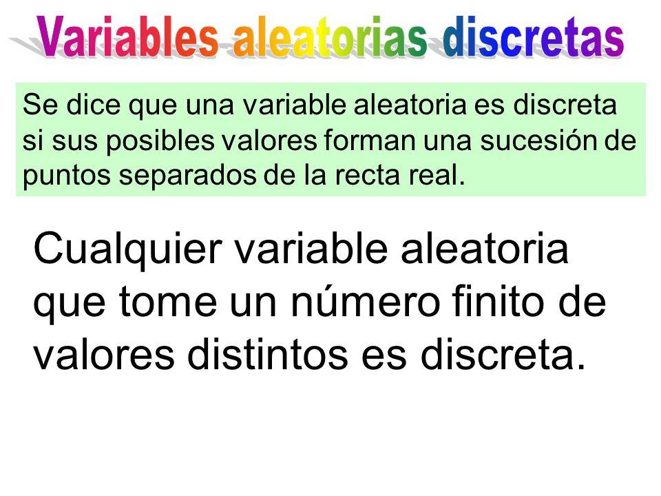 Cualquier variable aleatoria que tome un número finito de valores distintos es discreta. Se dice que una variable aleatoria es discreta si sus posible