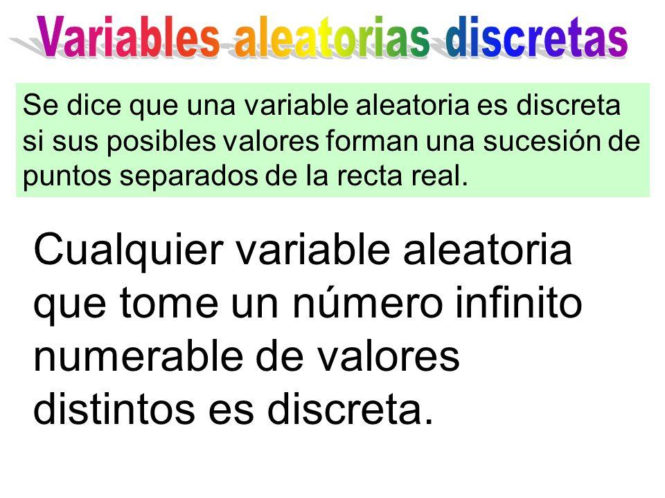 Cualquier variable aleatoria que tome un número infinito numerable de valores distintos es discreta. Se dice que una variable aleatoria es discreta si