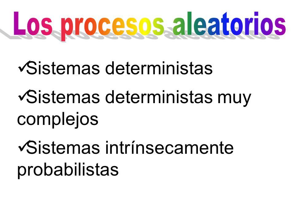 Sistemas deterministas Sistemas deterministas muy complejos Sistemas intrínsecamente probabilistas