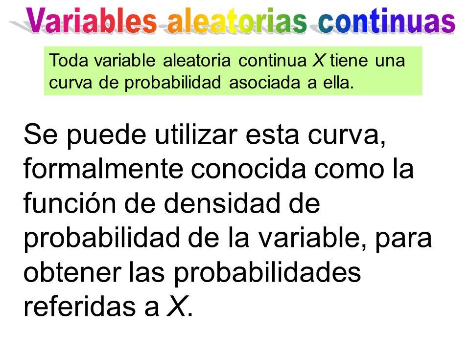Se puede utilizar esta curva, formalmente conocida como la función de densidad de probabilidad de la variable, para obtener las probabilidades referidas a X.