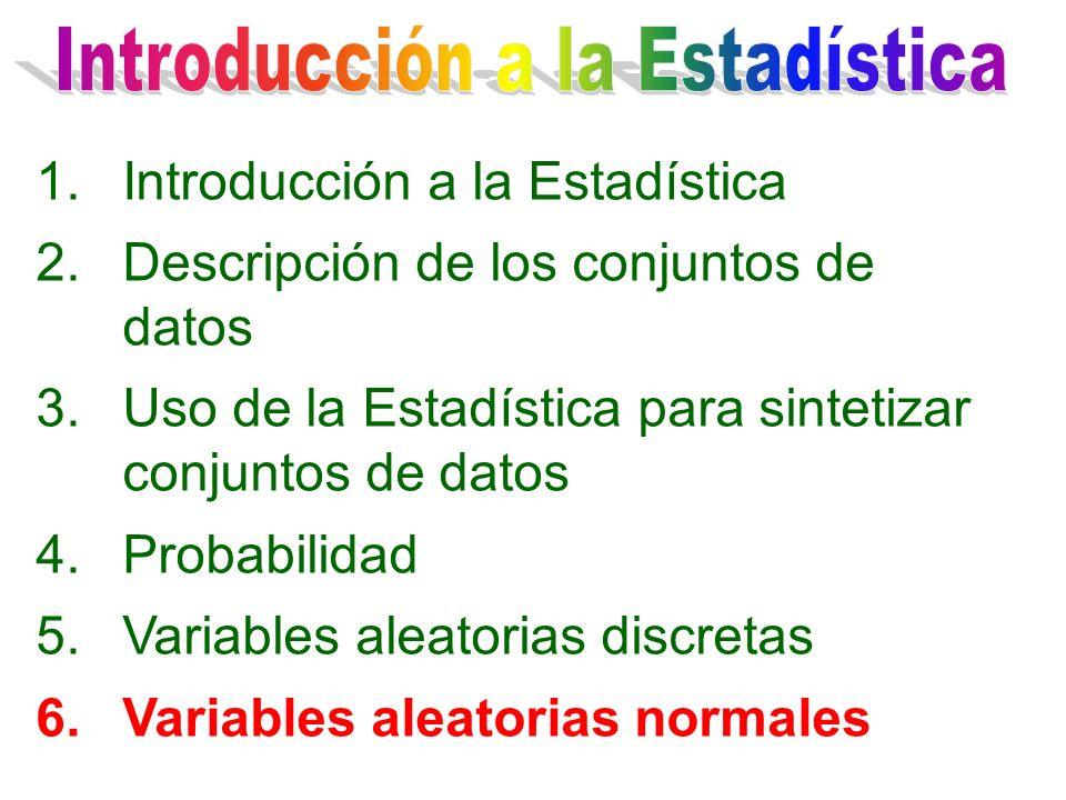 1.Introducción a la Estadística 2.Descripción de los conjuntos de datos 3.Uso de la Estadística para sintetizar conjuntos de datos 4.Probabilidad 5.Variables aleatorias discretas 6.Variables aleatorias normales