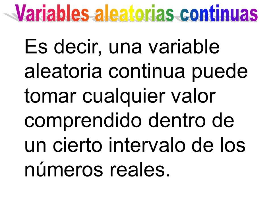 Es decir, una variable aleatoria continua puede tomar cualquier valor comprendido dentro de un cierto intervalo de los números reales.