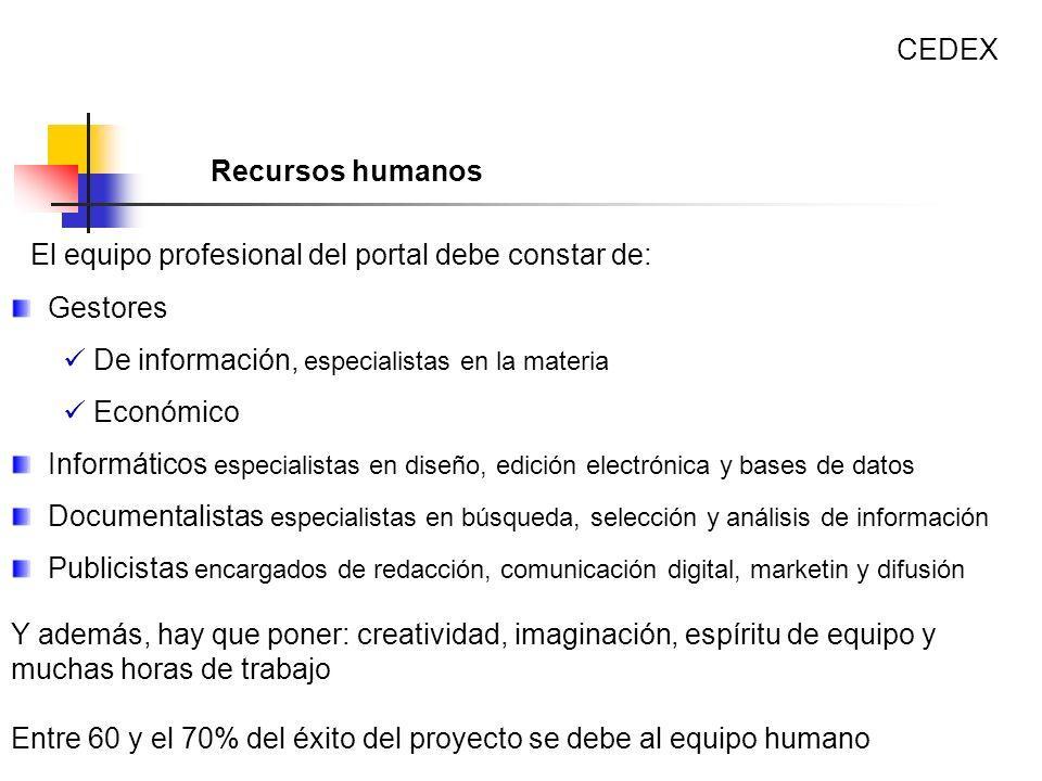 El equipo profesional del portal debe constar de: Gestores De información, especialistas en la materia Económico Informáticos especialistas en diseño,