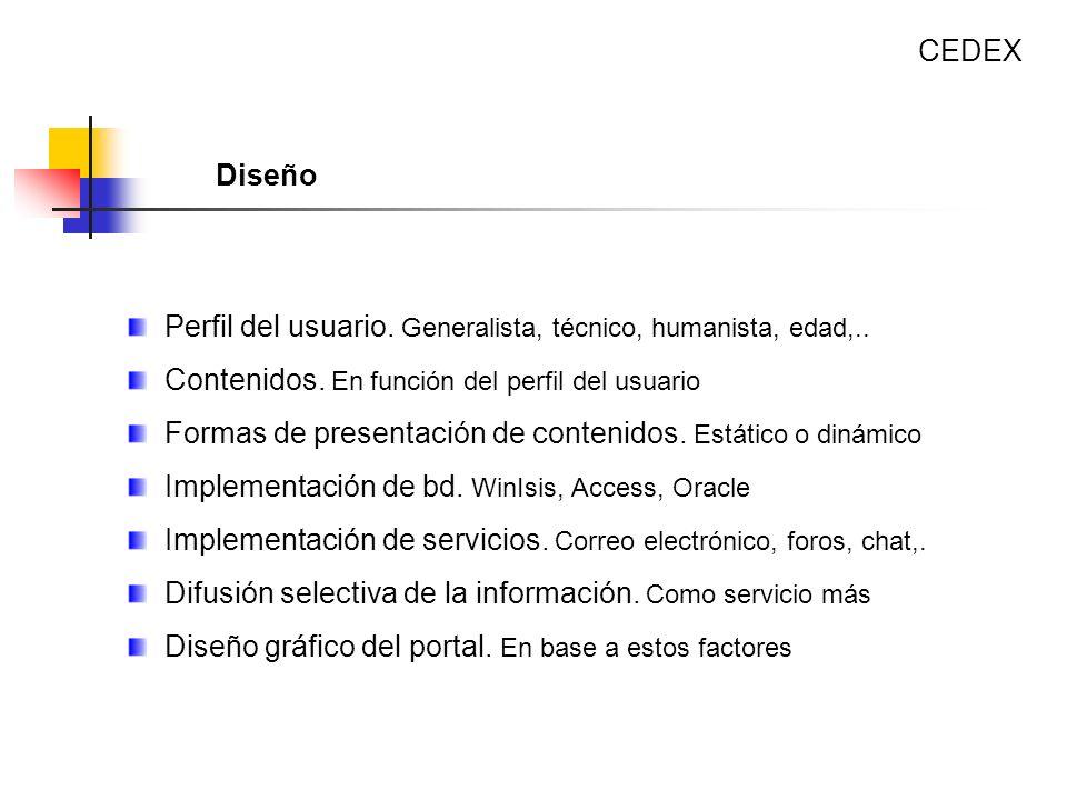 Perfil del usuario. Generalista, técnico, humanista, edad,.. Contenidos. En función del perfil del usuario Formas de presentación de contenidos. Estát