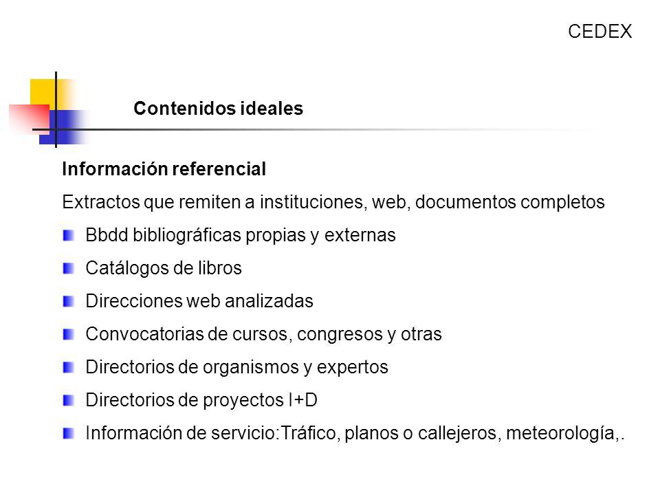Información referencial Extractos que remiten a instituciones, web, documentos completos Bbdd bibliográficas propias y externas Catálogos de libros Di