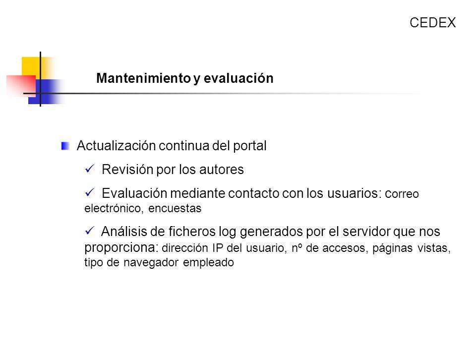 Actualización continua del portal Revisión por los autores Evaluación mediante contacto con los usuarios: c orreo electrónico, encuestas Análisis de f