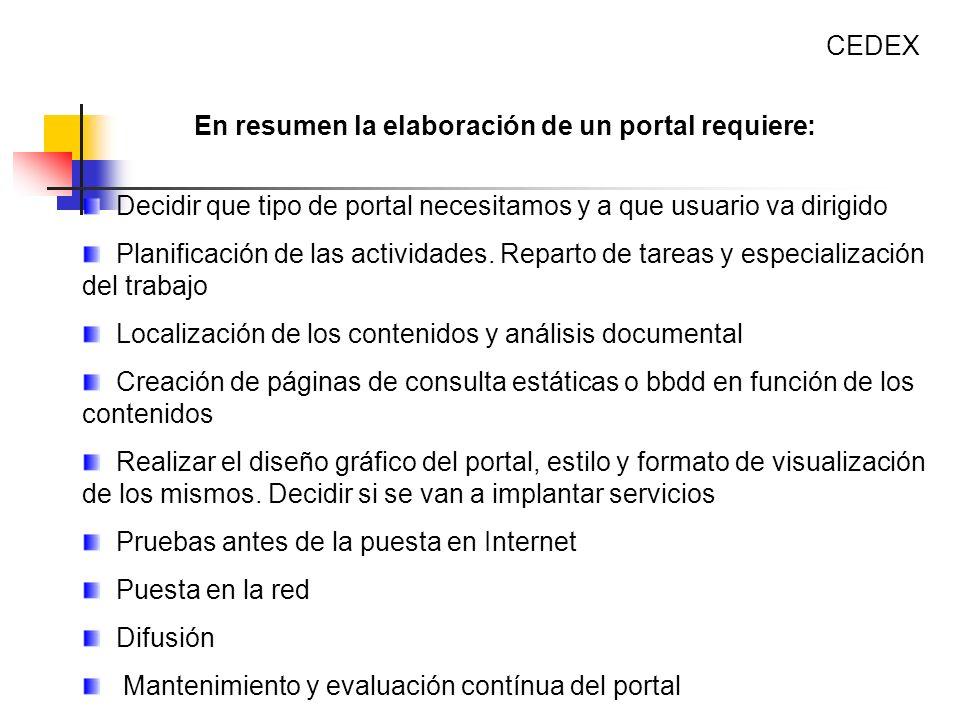 Decidir que tipo de portal necesitamos y a que usuario va dirigido Planificación de las actividades. Reparto de tareas y especialización del trabajo L
