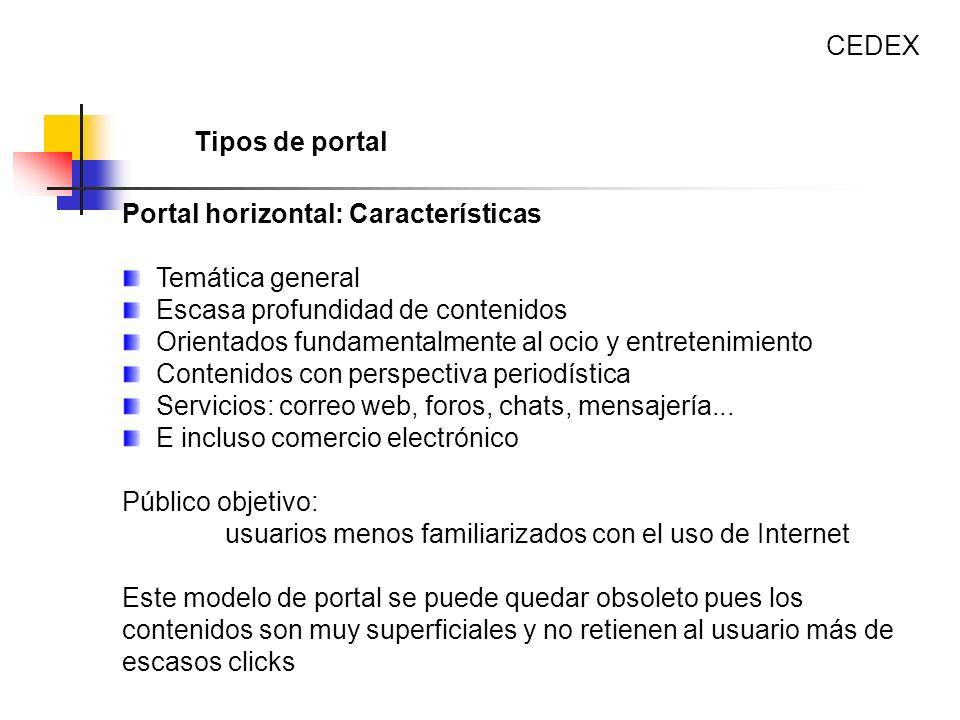 Portal horizontal: Características Temática general Escasa profundidad de contenidos Orientados fundamentalmente al ocio y entretenimiento Contenidos
