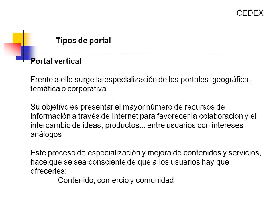 Portal vertical Frente a ello surge la especialización de los portales: geográfica, temática o corporativa Su objetivo es presentar el mayor número de