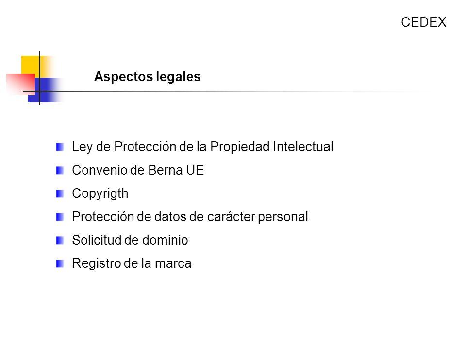 Ley de Protección de la Propiedad Intelectual Convenio de Berna UE Copyrigth Protección de datos de carácter personal Solicitud de dominio Registro de