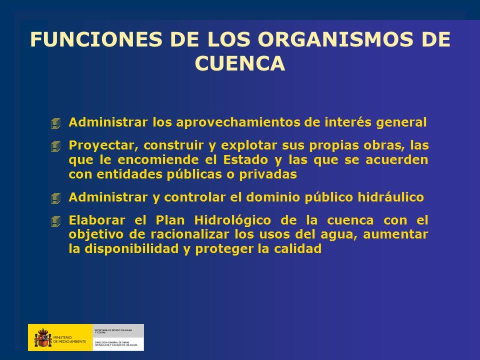 FUNCIONES DE LOS ORGANISMOS DE CUENCA 4Administrar los aprovechamientos de interés general 4Proyectar, construir y explotar sus propias obras, las que