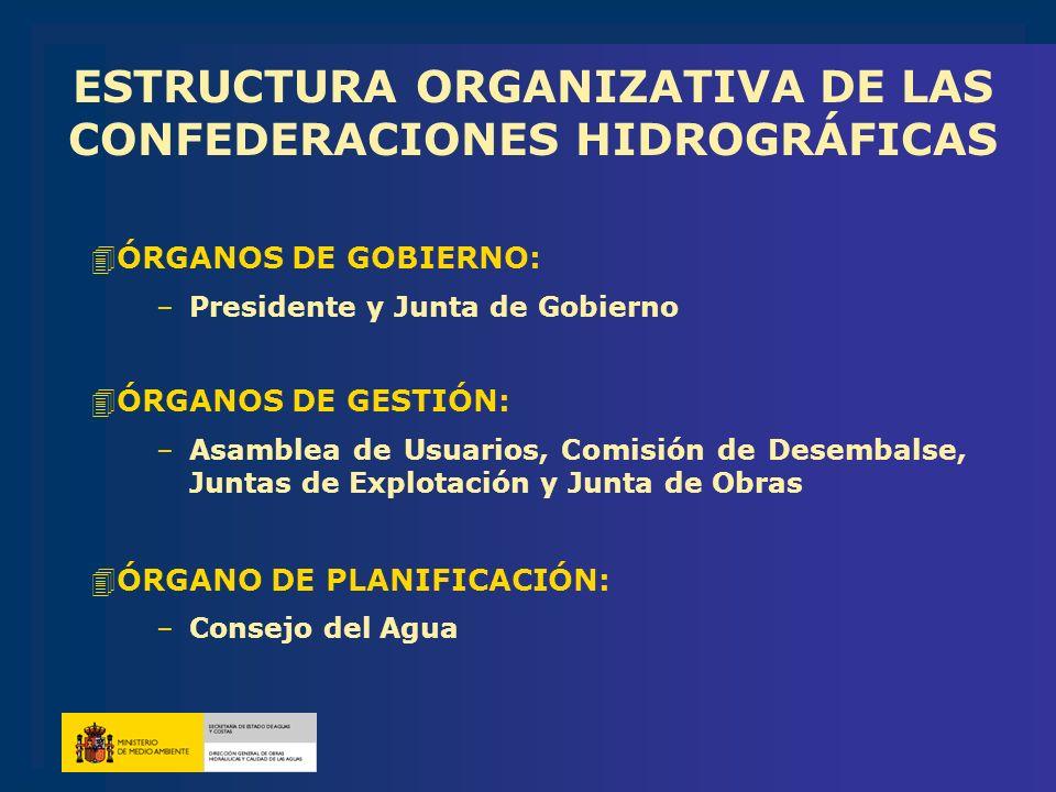 ESTRUCTURA ORGANIZATIVA DE LAS CONFEDERACIONES HIDROGRÁFICAS 4ÓRGANOS DE GOBIERNO: –Presidente y Junta de Gobierno 4ÓRGANOS DE GESTIÓN: –Asamblea de U
