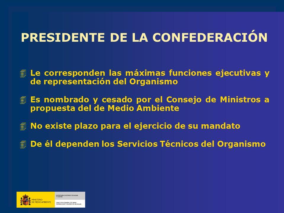 PRESIDENTE DE LA CONFEDERACIÓN 4Le corresponden las máximas funciones ejecutivas y de representación del Organismo 4Es nombrado y cesado por el Consej
