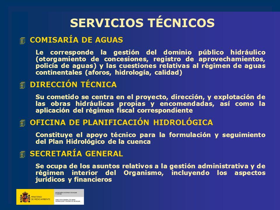 SERVICIOS TÉCNICOS 4COMISARÍA DE AGUAS Le corresponde la gestión del dominio público hidráulico (otorgamiento de concesiones, registro de aprovechamie