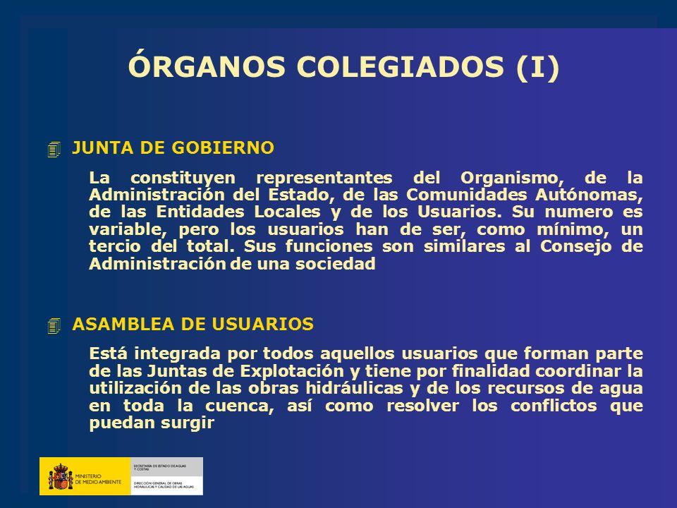 ÓRGANOS COLEGIADOS (I) 4JUNTA DE GOBIERNO La constituyen representantes del Organismo, de la Administración del Estado, de las Comunidades Autónomas,