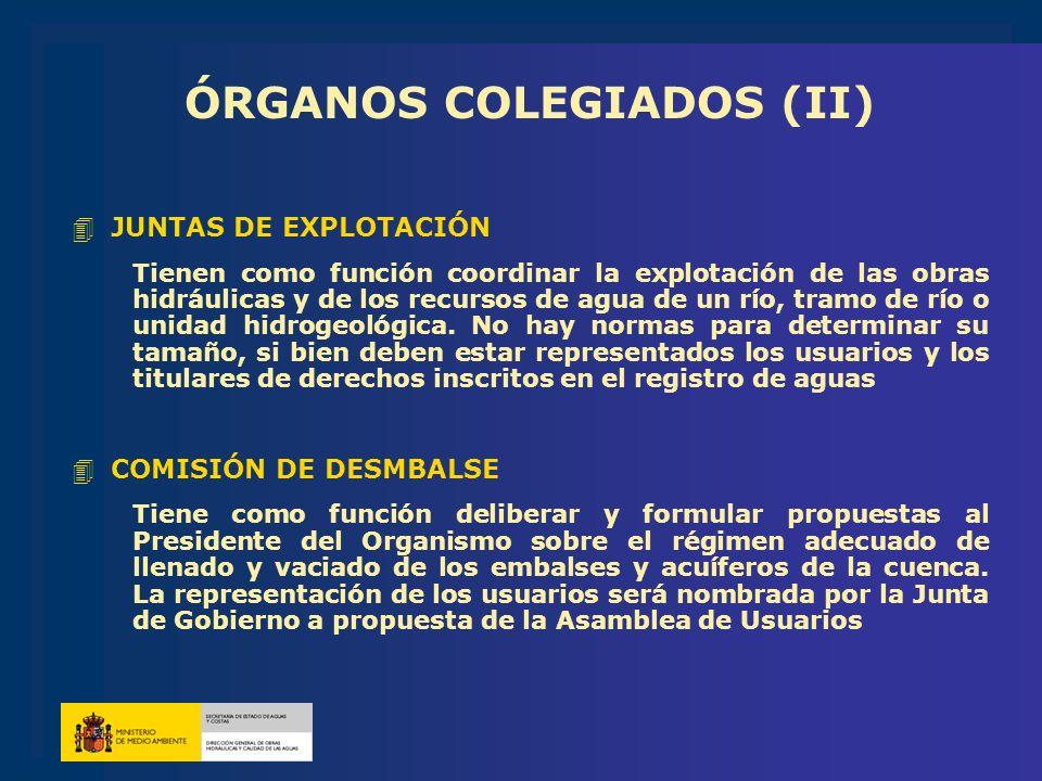 ÓRGANOS COLEGIADOS (II) 4JUNTAS DE EXPLOTACIÓN Tienen como función coordinar la explotación de las obras hidráulicas y de los recursos de agua de un r