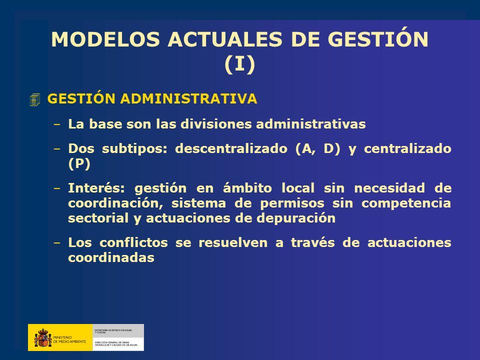 MODELOS ACTUALES DE GESTIÓN (I) 4GESTIÓN ADMINISTRATIVA –La base son las divisiones administrativas –Dos subtipos: descentralizado (A, D) y centraliza