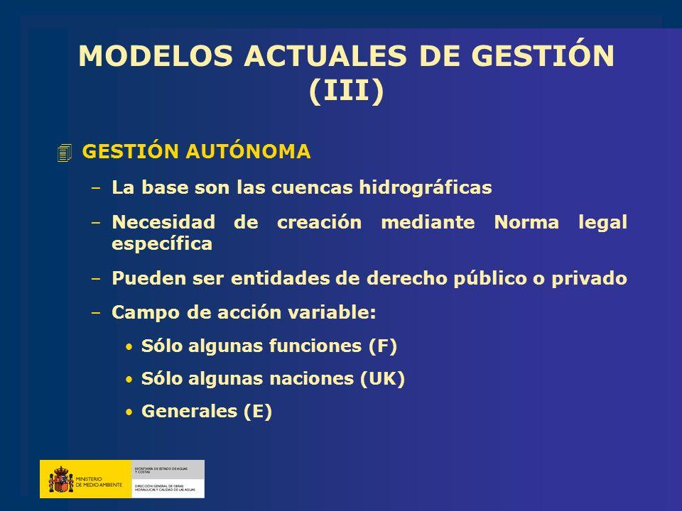 MODELOS ACTUALES DE GESTIÓN (III) 4GESTIÓN AUTÓNOMA –La base son las cuencas hidrográficas –Necesidad de creación mediante Norma legal específica –Pue