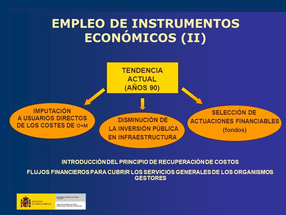 EMPLEO DE INSTRUMENTOS ECONÓMICOS (II) INTRODUCCIÓN DEL PRINCIPIO DE RECUPERACIÓN DE COSTOS FLUJOS FINANCIEROS PARA CUBRIR LOS SERVICIOS GENERALES DE