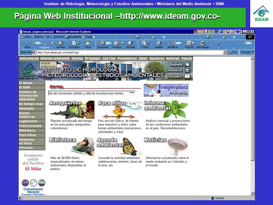 Instituto de Hidrología, Meteorología y Estudios Ambientales Ministerio del Medio Ambiente SINA Página Web Institucional –http://www.ideam.gov.co-