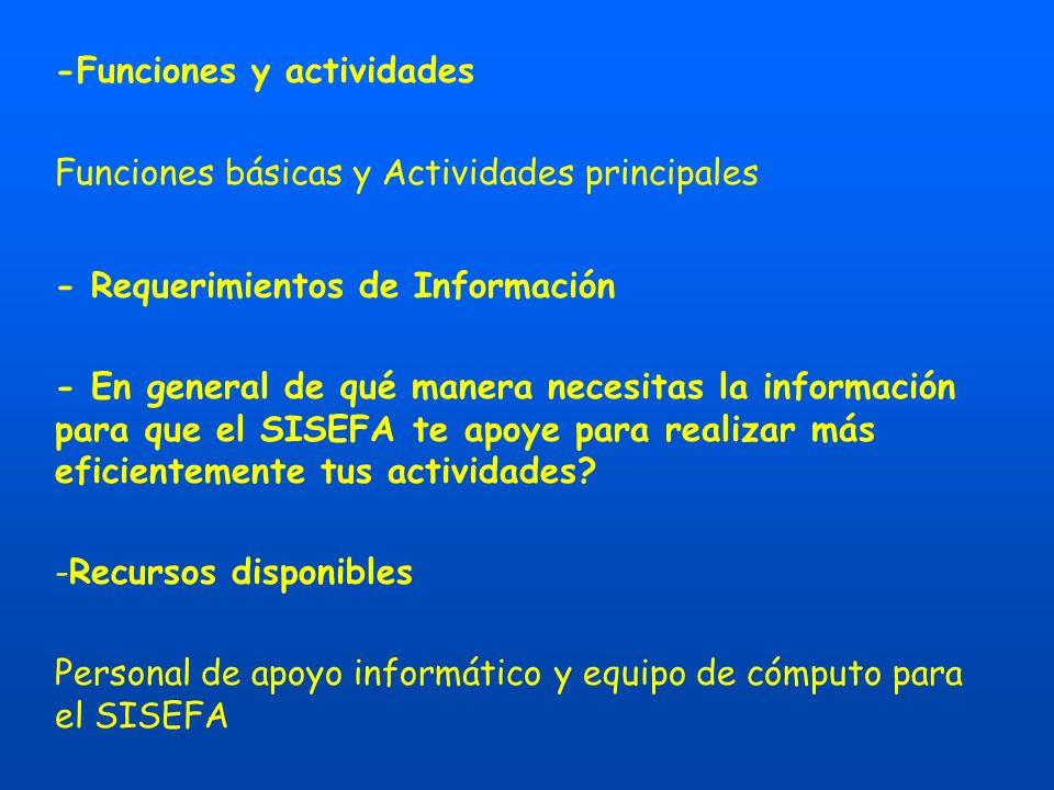 -Funciones y actividades Funciones básicas y Actividades principales - Requerimientos de Información - En general de qué manera necesitas la información para que el SISEFA te apoye para realizar más eficientemente tus actividades.