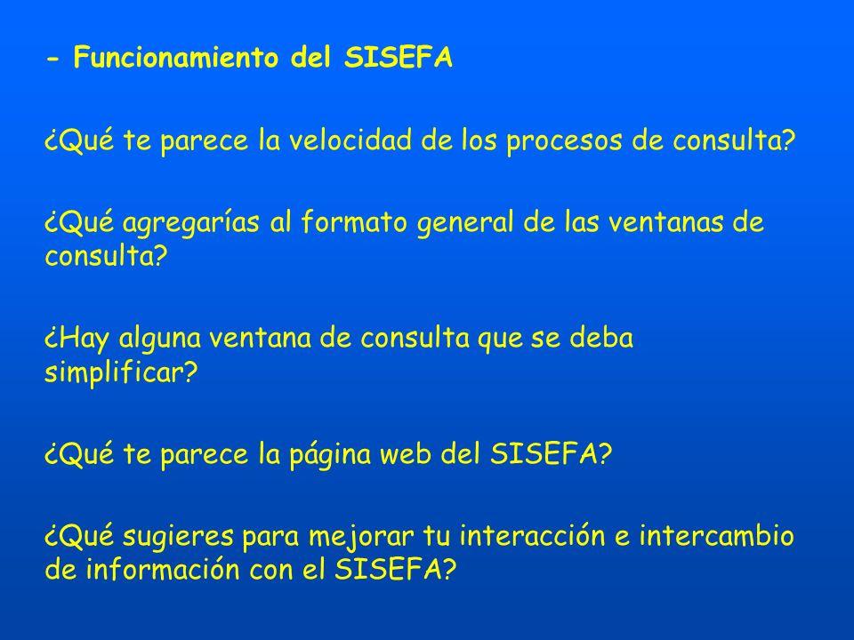 - Funcionamiento del SISEFA ¿Qué te parece la velocidad de los procesos de consulta.