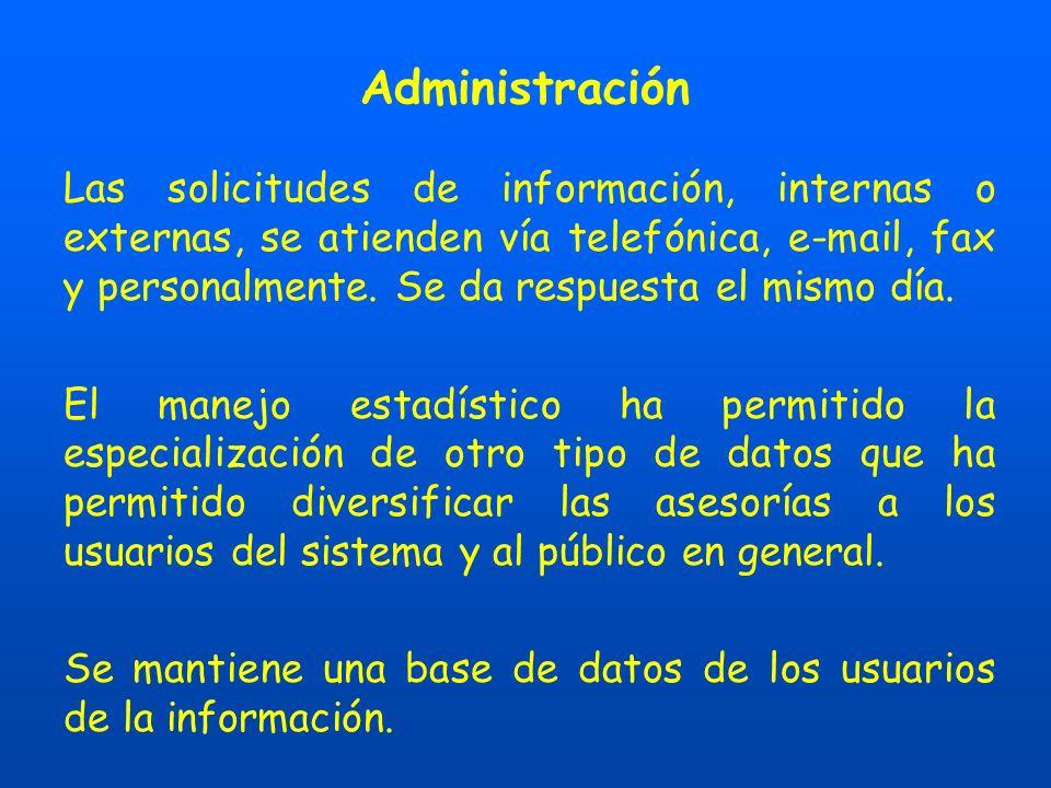 Administración Las solicitudes de información, internas o externas, se atienden vía telefónica, e-mail, fax y personalmente.