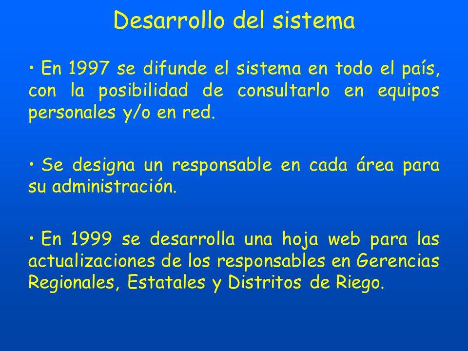 Desarrollo del sistema En 1997 se difunde el sistema en todo el país, con la posibilidad de consultarlo en equipos personales y/o en red.