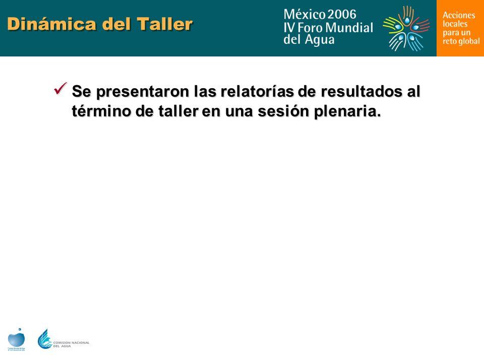 Dinámica del Taller Se presentaron las relatorías de resultados al término de taller en una sesión plenaria. Se presentaron las relatorías de resultad