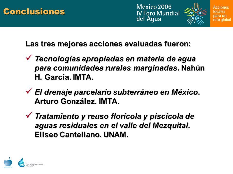 Conclusiones Las tres mejores acciones evaluadas fueron: Tecnologías apropiadas en materia de agua para comunidades rurales marginadas. Nahún H. Garcí
