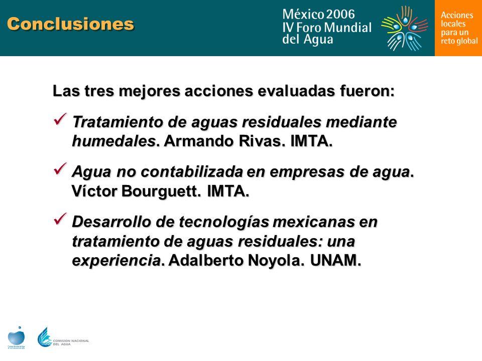 Conclusiones Las tres mejores acciones evaluadas fueron: Tratamiento de aguas residuales mediante humedales. Armando Rivas. IMTA. Tratamiento de aguas
