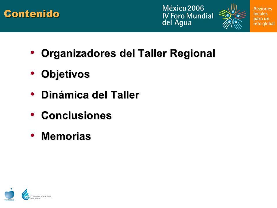 Contenido Organizadores del Taller Regional Organizadores del Taller Regional Objetivos Objetivos Dinámica del Taller Dinámica del Taller Conclusiones