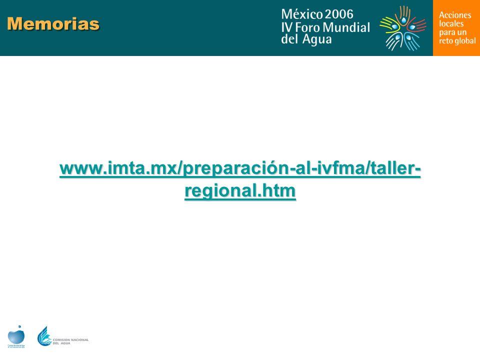 Memorias www.imta.mx/preparación-al-ivfma/taller- regional.htm www.imta.mx/preparación-al-ivfma/taller- regional.htm