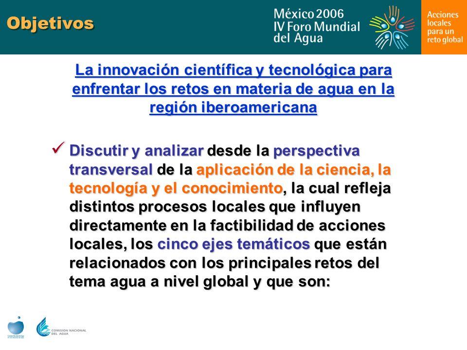Objetivos La innovación científica y tecnológica para enfrentar los retos en materia de agua en la región iberoamericana Discutir y analizar desde la