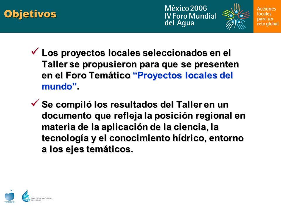 Objetivos Los proyectos locales seleccionados en el Taller se propusieron para que se presenten en el Foro Temático Proyectos locales del mundo. Los p