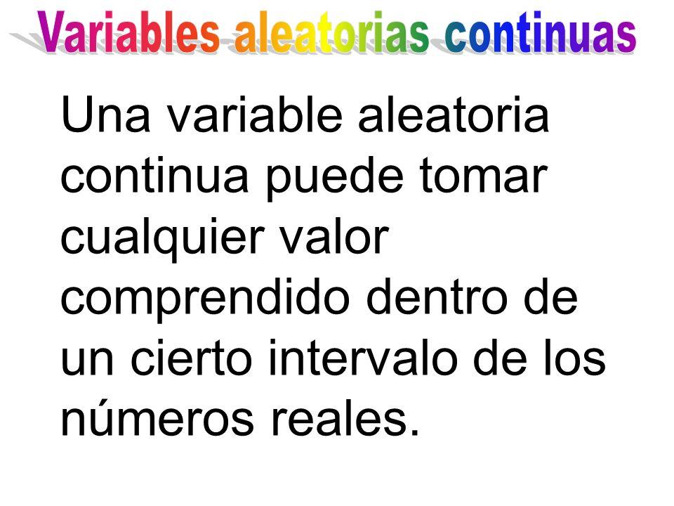 Una variable aleatoria continua puede tomar cualquier valor comprendido dentro de un cierto intervalo de los números reales.