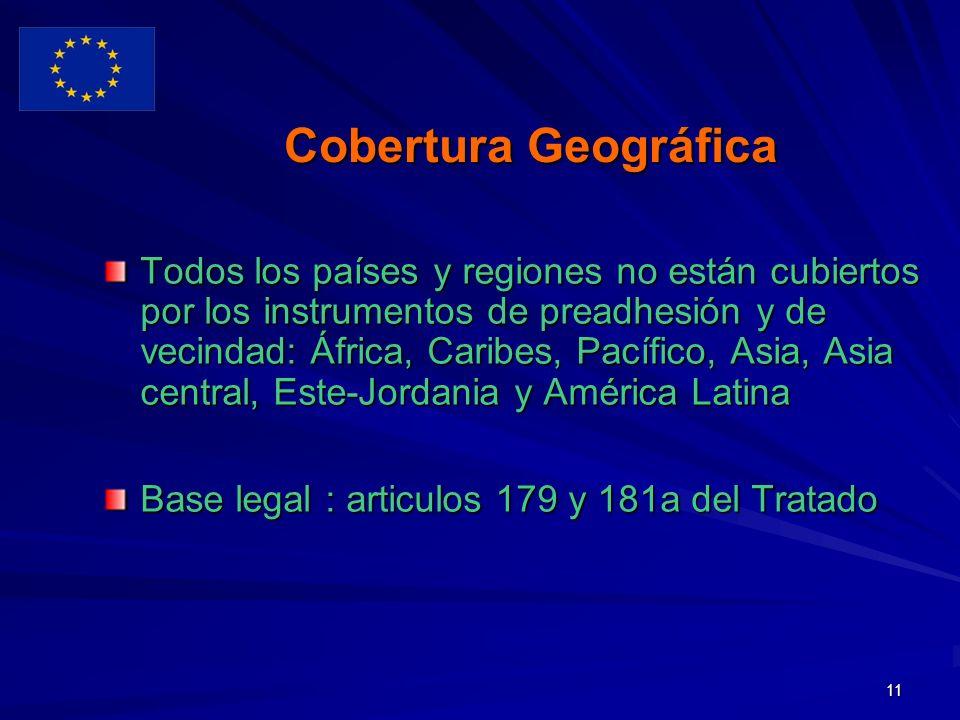 11 Cobertura Geográfica Todos los países y regiones no están cubiertos por los instrumentos de preadhesión y de vecindad: África, Caribes, Pacífico, Asia, Asia central, Este-Jordania y América Latina Base legal : articulos 179 y 181a del Tratado